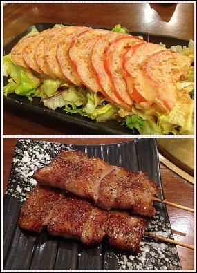 串燒牛舌(似油炸多d)及蕃茄沙律 - Wako Japanese Yakiniku Restaurant in Causeway Bay