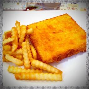咖央西多士配薯條 - 大圍的金裝燉奶佬餐廳